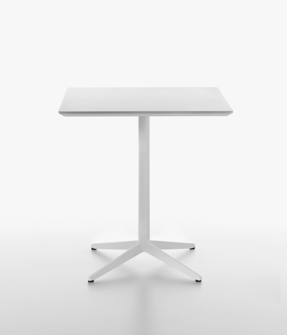 PLANK MISTER X table, square table top, 73 cm high, MDF, white