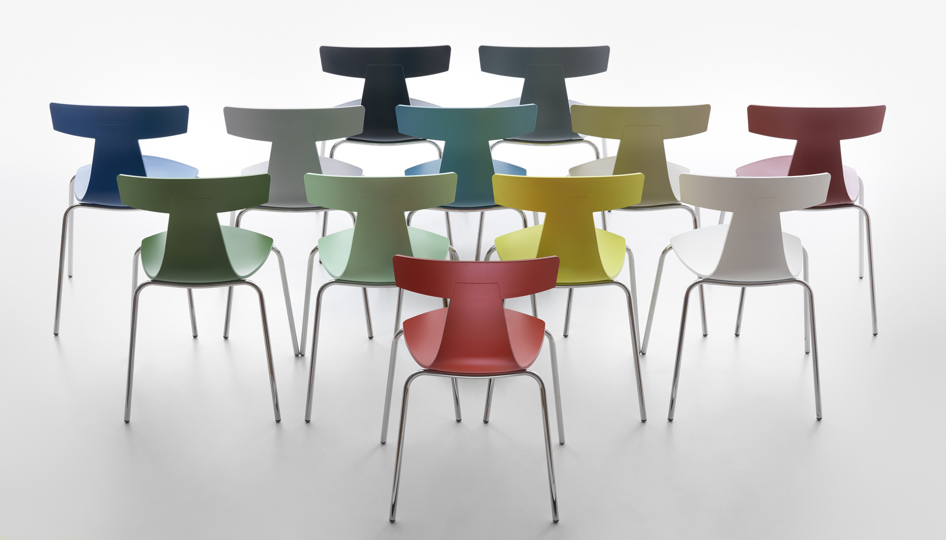 Plank - REMO plastic chair, chromed frame, plastic finishings in the colors black, basalt-grey, green-blue, avion-blue, oxide-red, coral-red, white, signal-grey, yellow-grey, fern-green, pastel-green, sulfur-yellow.