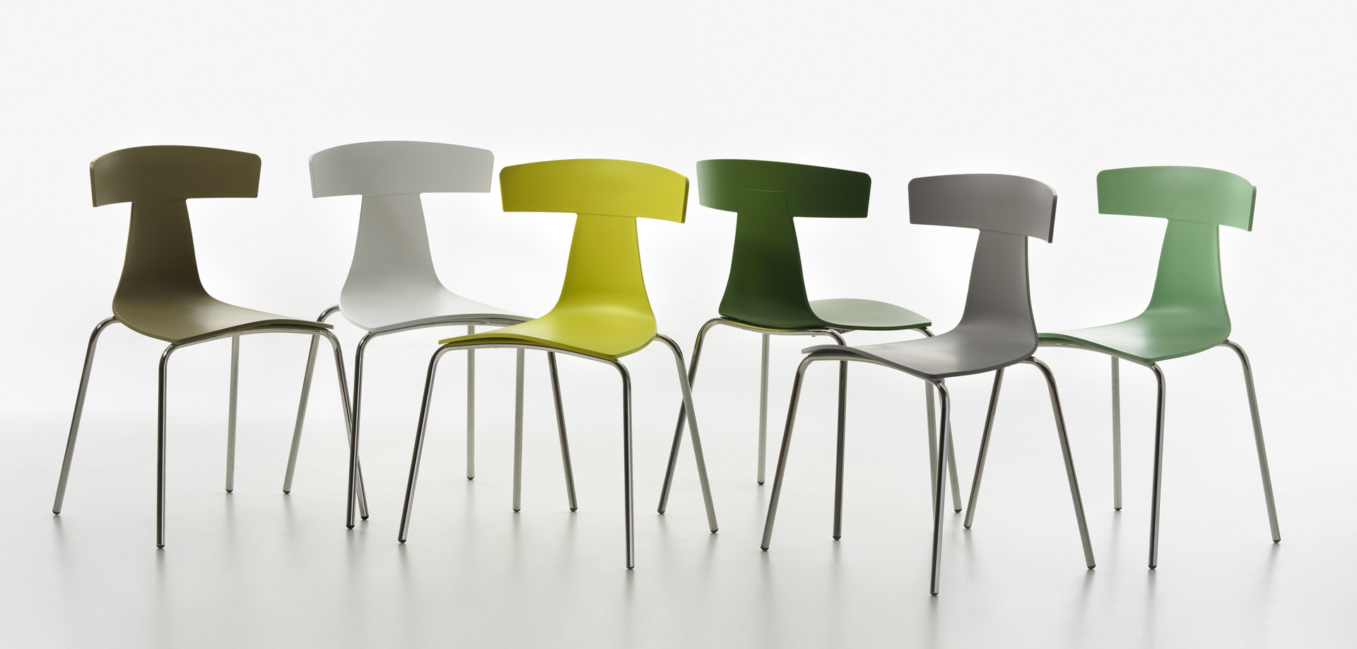 Plank - REMO plastic chair, chromed frame, plastic finishings in the colors yellow-green, white, sulfur-yellow, fern-green, signal-grey, pastel-green.