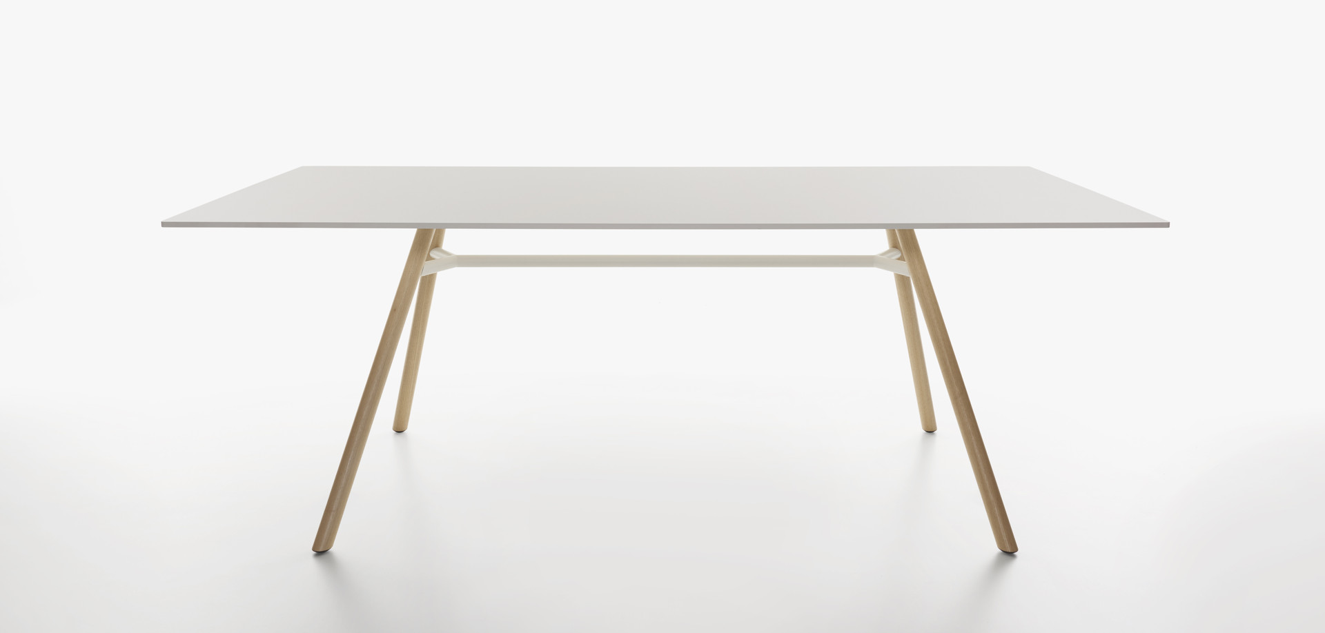 Plank - MART table, rectangular table top, natural ash legs, white HPL top