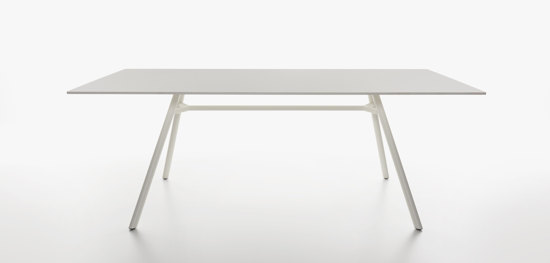 Plank - MART table, rectangular table top, white aluminum legs, white HPL top