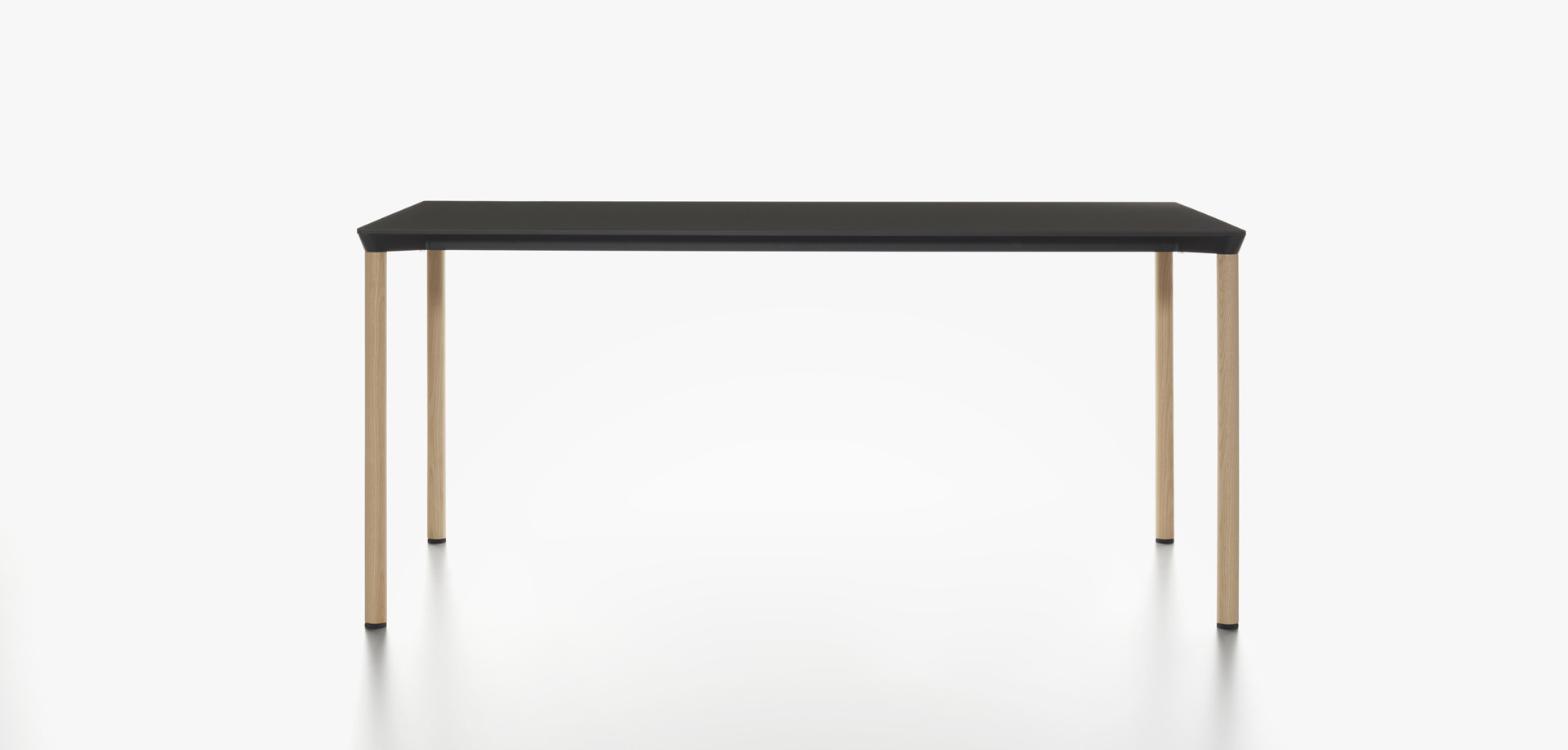 Plank - MONZA table rectangular, black HPL table top, natural ash legs