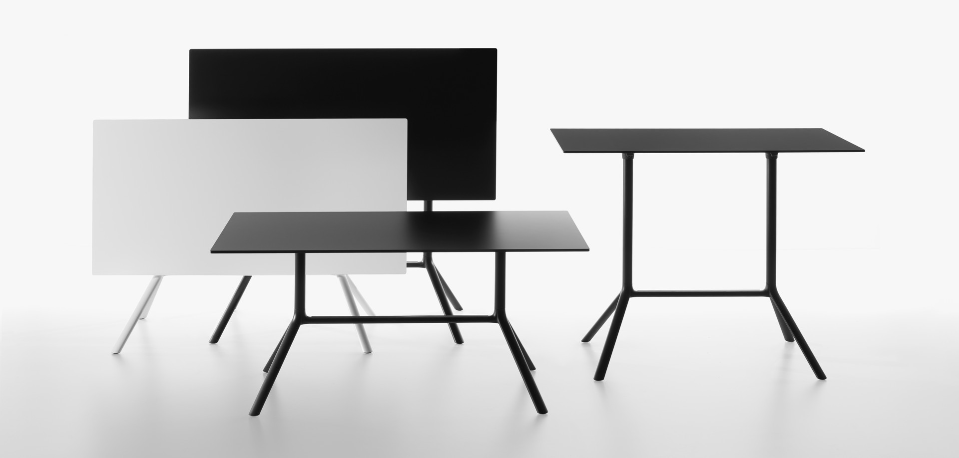Plank - MIURA table rectangular folded and unfolded, black, white - group