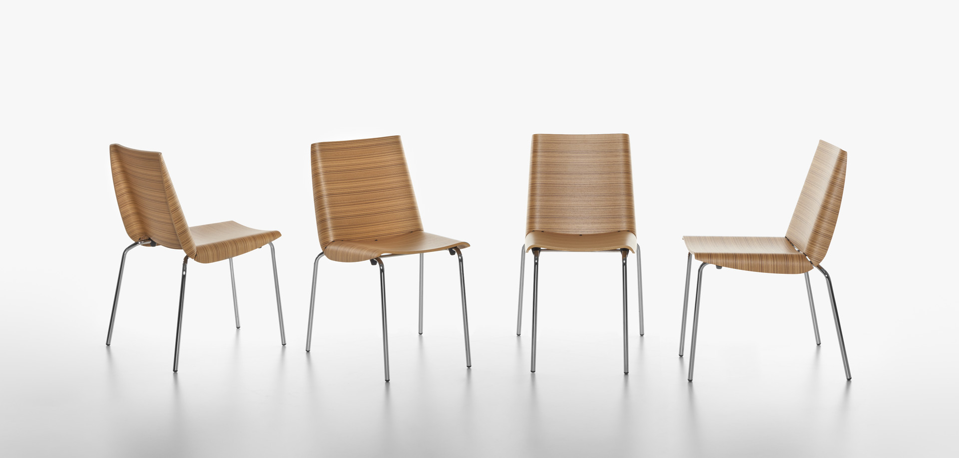 Plank - MILLEFOGLIE chair, chromed metal structure, seat and back in molded plywood veneered with zebrano.