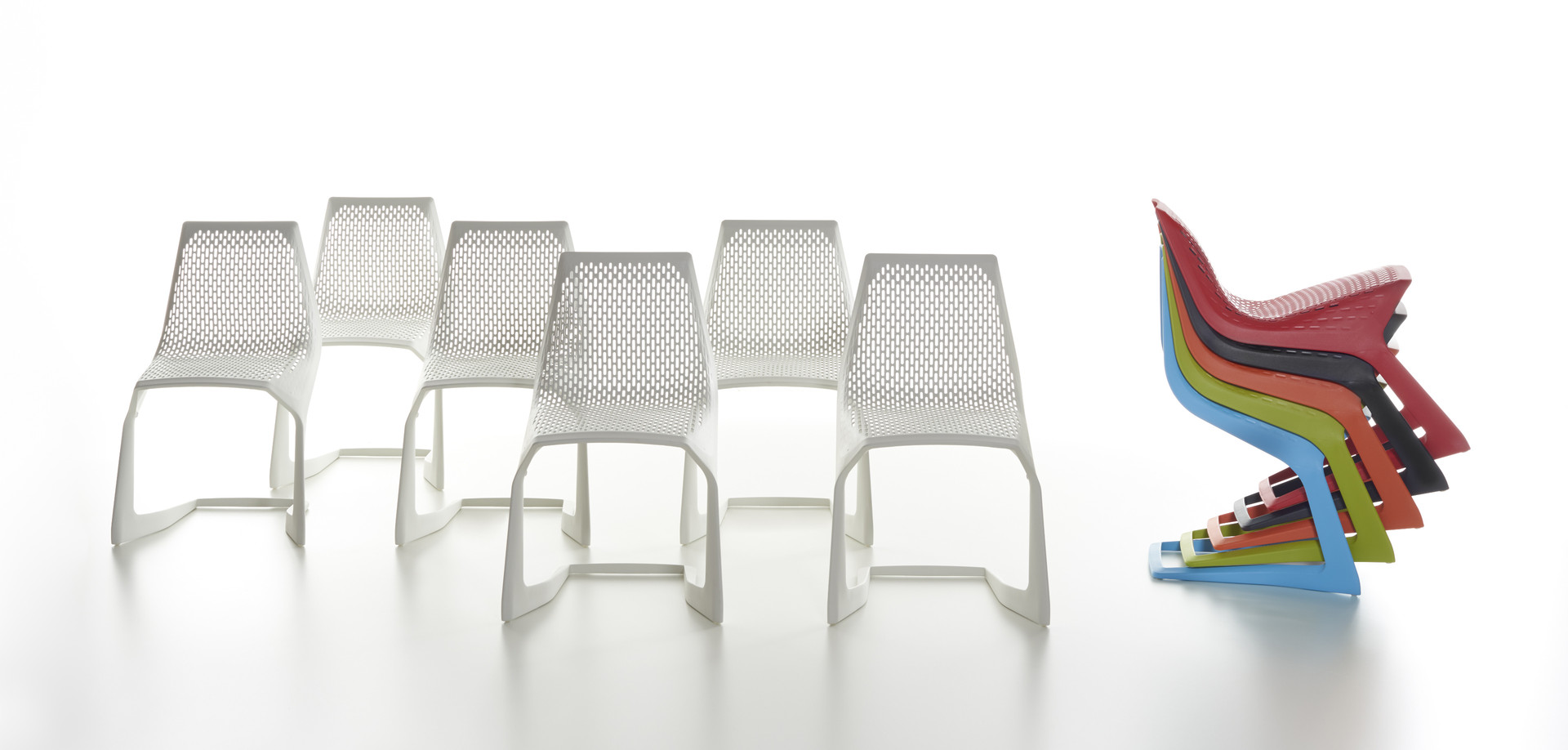 Plank - MYTO chair, plastic, white. stackable