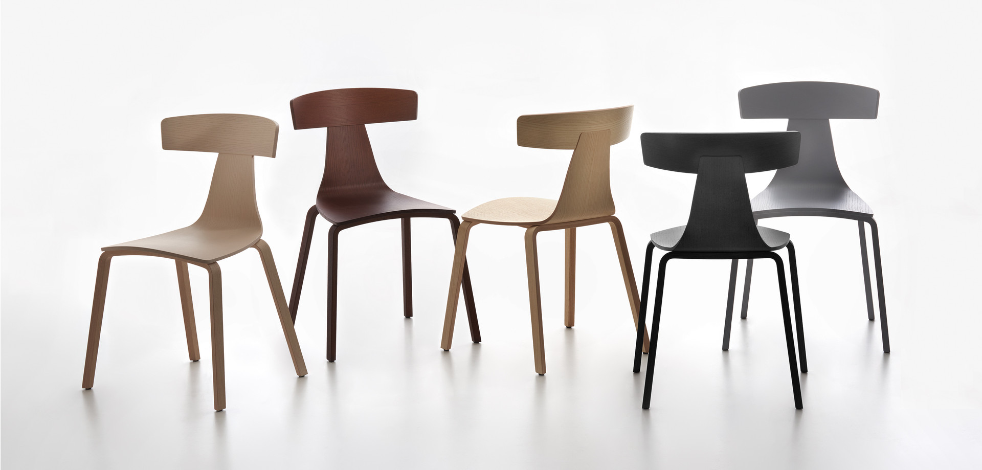 Plank - REMO wood chair, natural finished ash, stained in the colors chalk, walnut, grey, black.