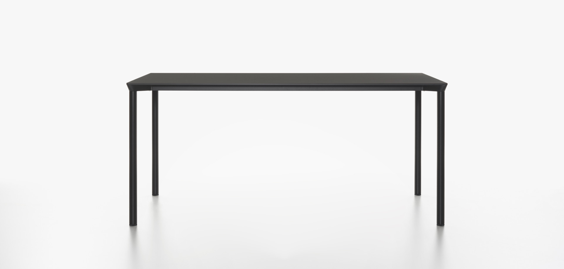 Plank - MONZA table rectangular, black HPL table top, black aluminum legs