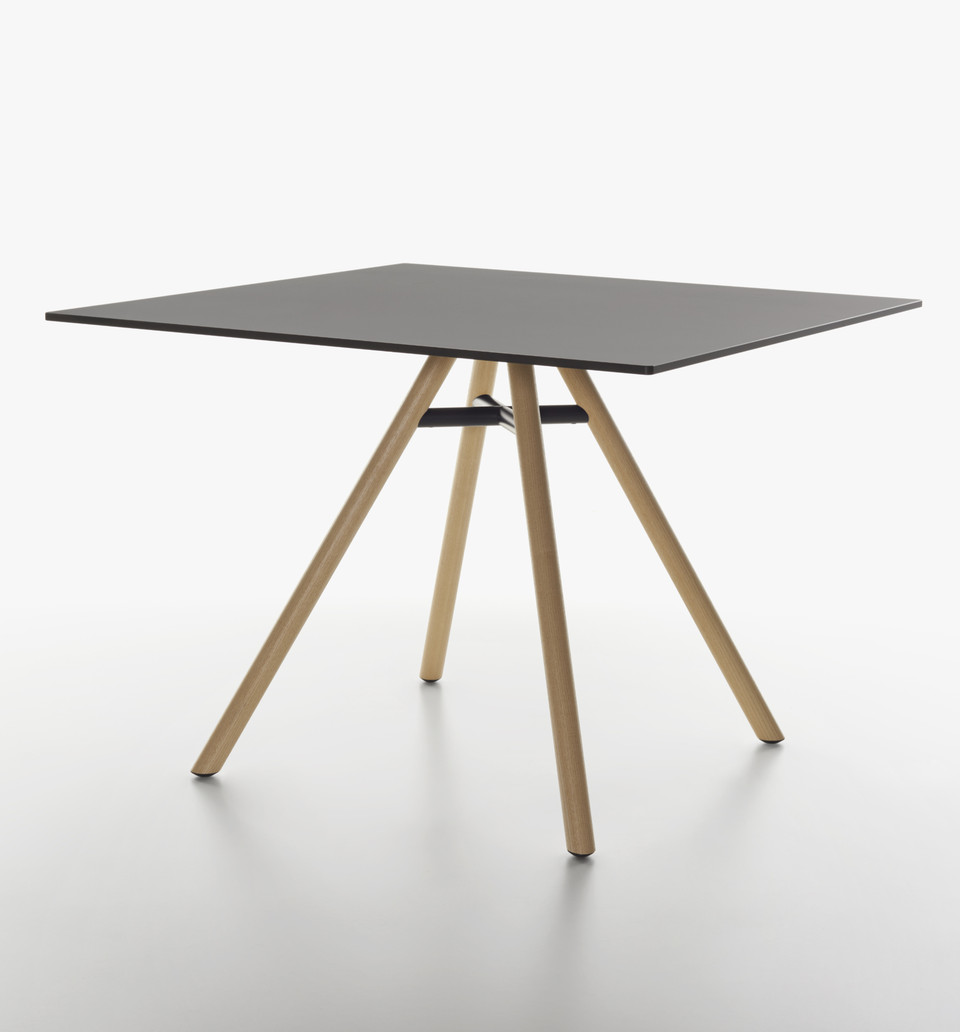 Plank - MART table, square table, natural ash legs, black HPL top