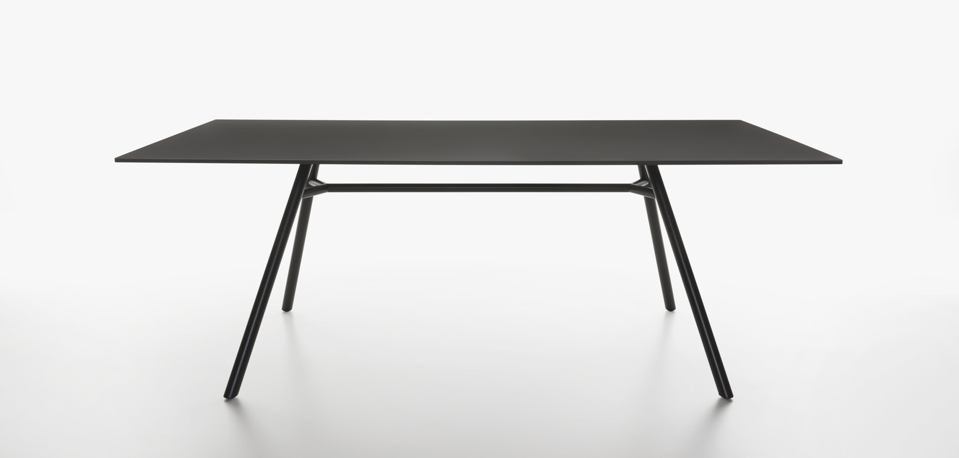 Plank - MART table, rectangular table top, black aluminum legs, black HPL top