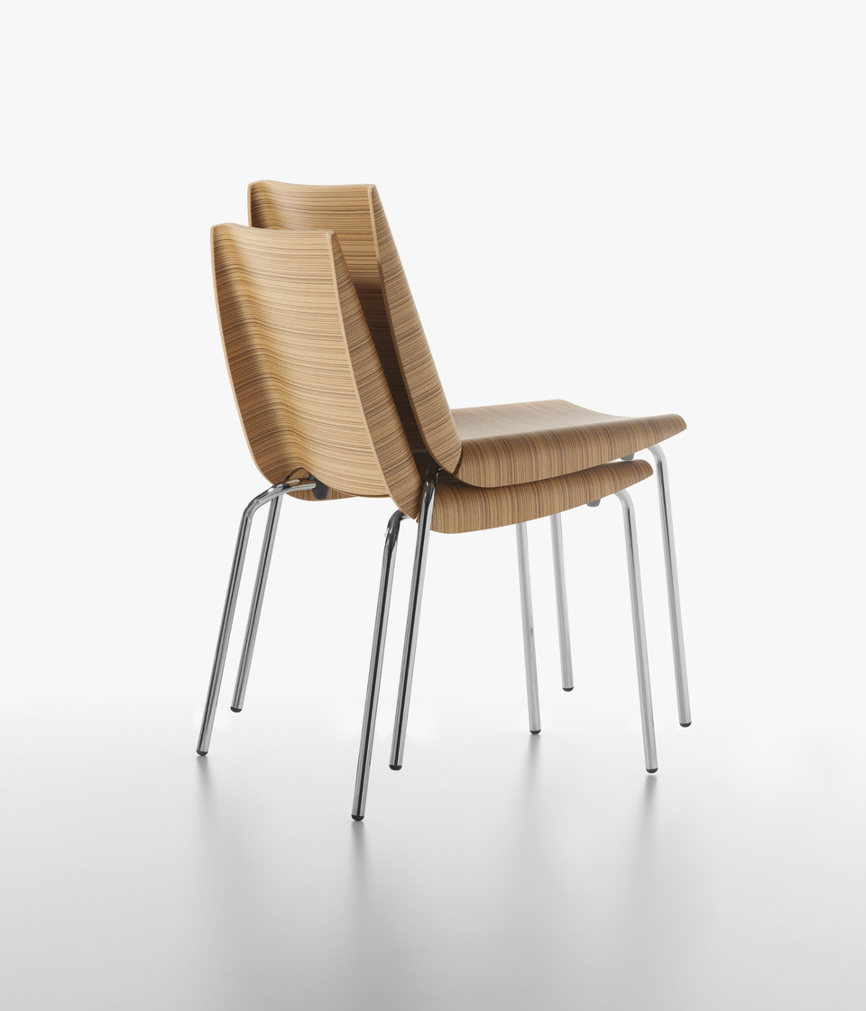 Plank - MILLEFOGLIE chair, chromed, zebrano. stacked.