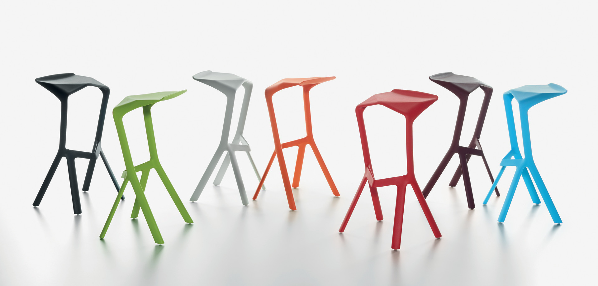 PLANK - MIURA stool, black, yellow-green, white, pure orange, traffic red, wine red, light-blue