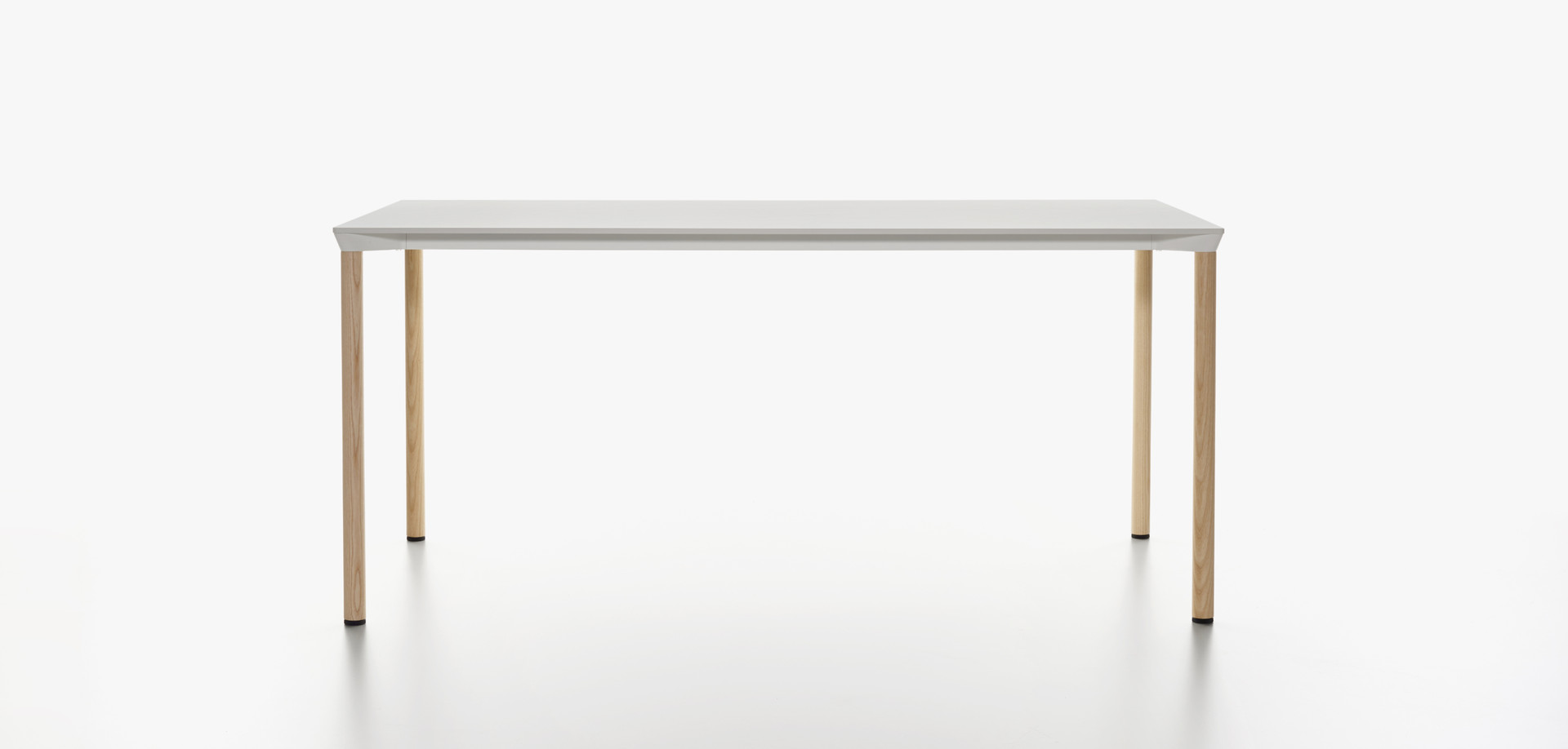 Plank - MONZA table rectangular, white HPL table top, natural ash legs