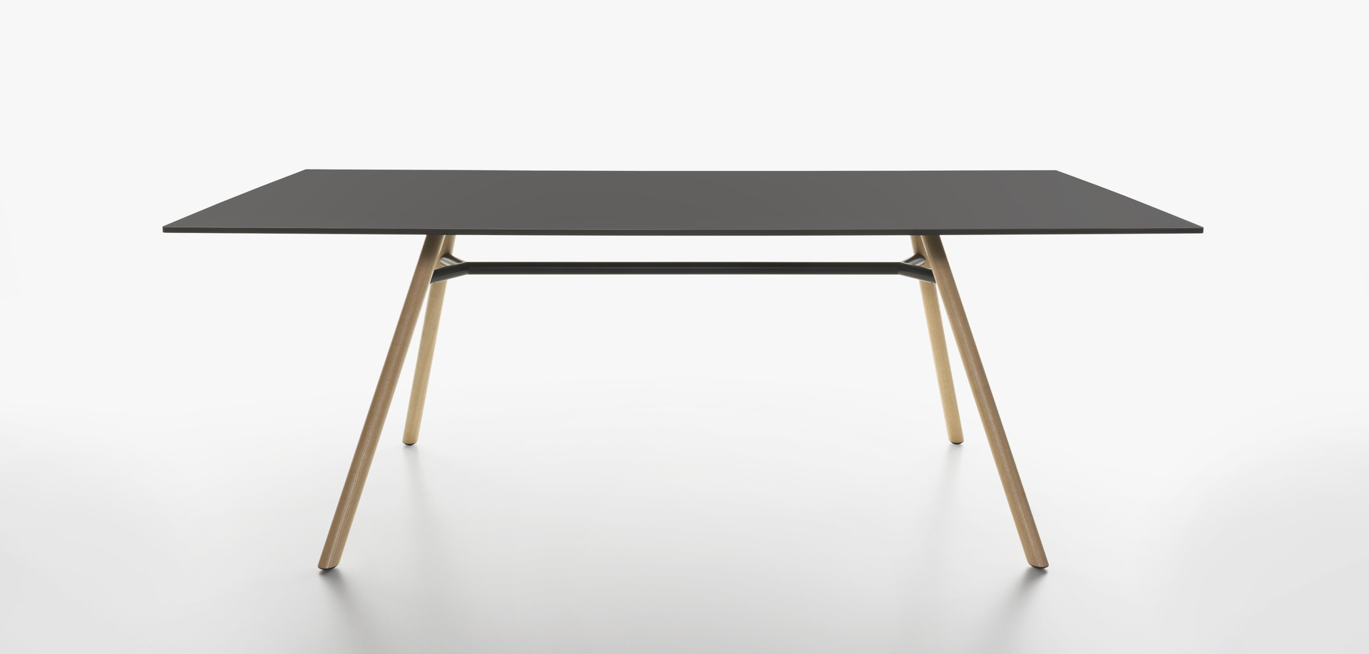 Plank - MART table, rectangular table top, natural ash legs, black HPL top