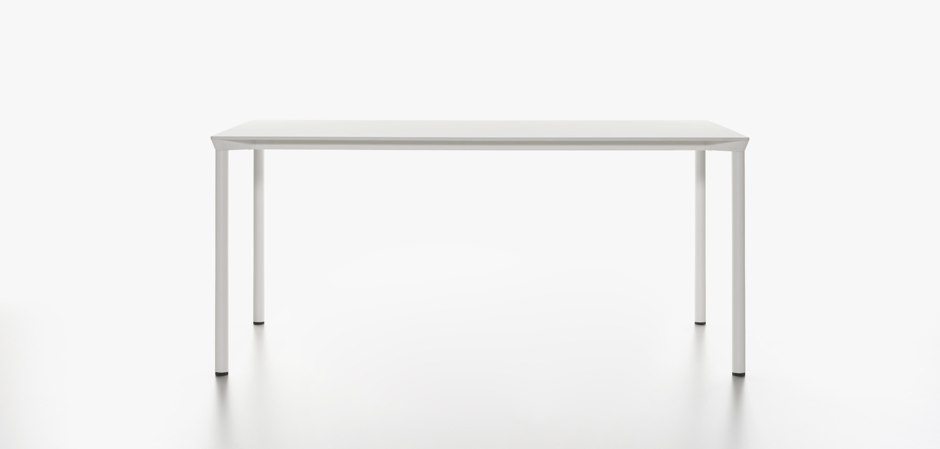 Plank - MONZA table rectangular, white HPL table top, white aluminum legs