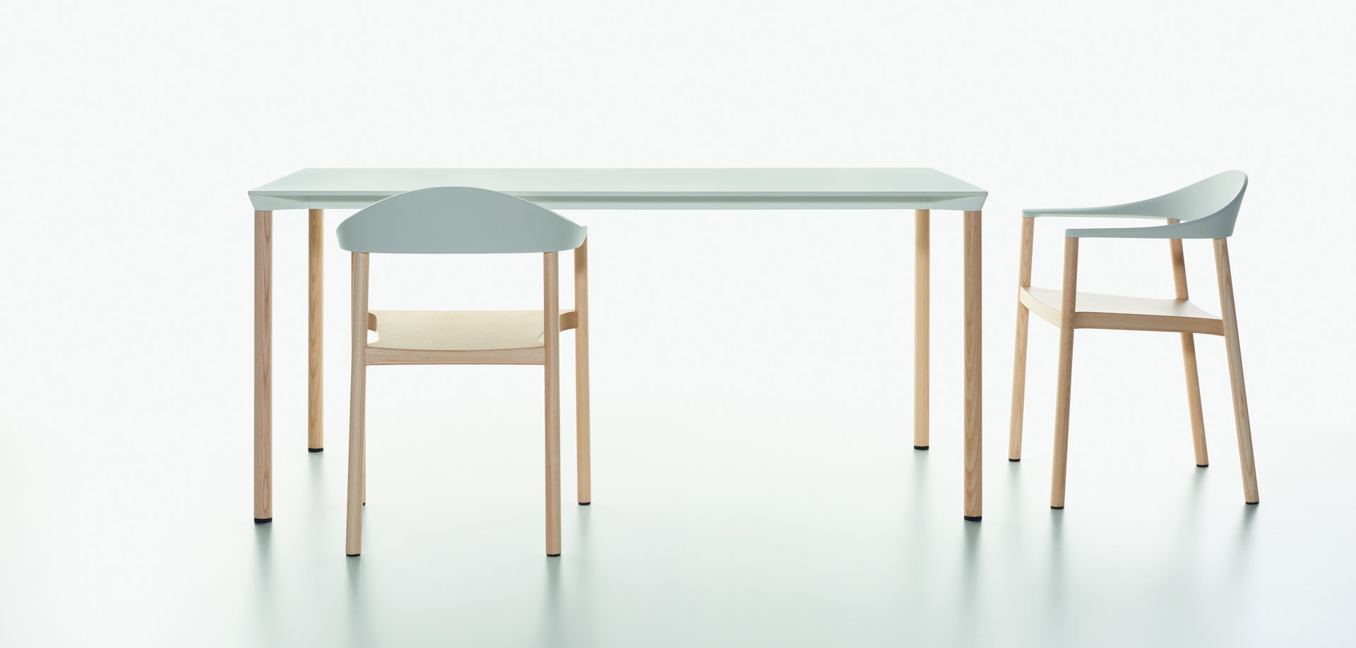 Plank - MONZA table rectangular, white HPL table top, natural ash legs - MONZA armchair