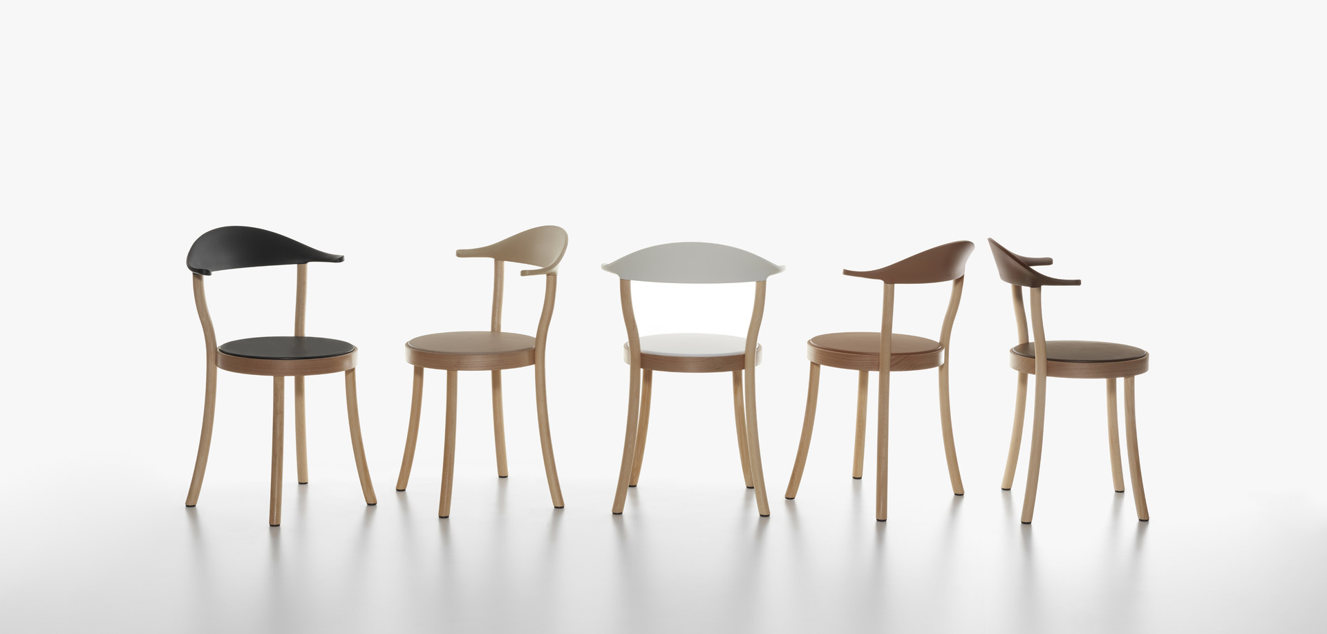 Plank - MONZA BISTRO chair, beech natural, backrests and seats in black, cafe latte, white, caramel, terra brown.
