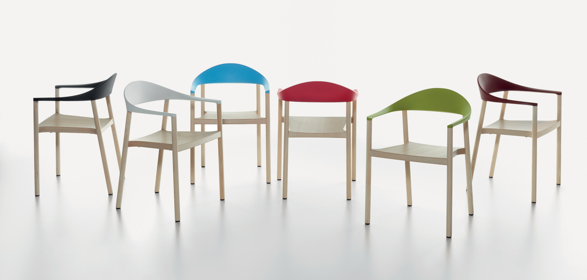 Plank - MONZA armchair, ash natural, backrest in black, white, light blue, traffic read, yellow green, wine red